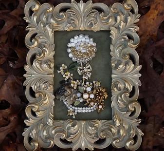 Vintage Rhinestone Jewelry Framed Art Topiary Garden Holiday Flower Planter Ellen Originals