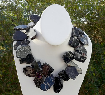 Black Jasper Slab Chunky Necklace Antique Amethyst & Pearls Adornment