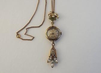 Vintage 1940's Retro Gold Filled Ladies Wrist Watch Lavalier Necklace Pendant