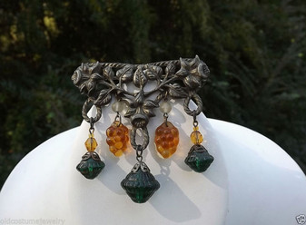 Art Nouveau Pin Green & Amber Grapes Glass Dangles Nature Flowers Leaves