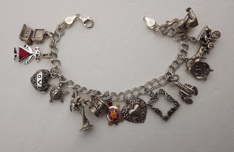 Vintage Sterling Silver Charm Bracelet Adorable Elephant, Sea Turtle, Lobster, Palm Trees, Baby Cups