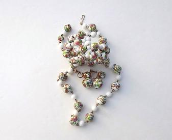 Gorgeous Venetian Aventurine Wedding Cake Necklace Bracelet Earrings Set