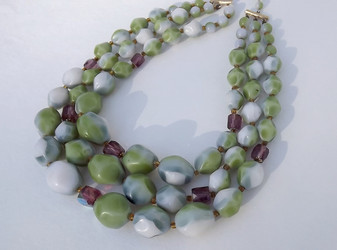 Vintage 3 Strand POURED GLASS BEADS Necklace Lime Green Purple White