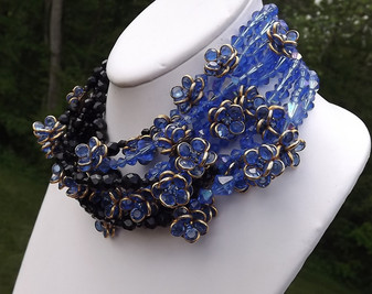 Vintage Coppola e Toppo Style Glass Bead 9 strand CHOKER Necklace DOG COLLAR
