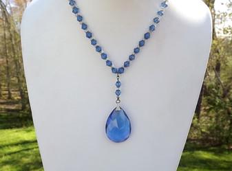 Art Deco Lavalier Necklace Blue Faceted Glass Pendant Rondelle Beads
