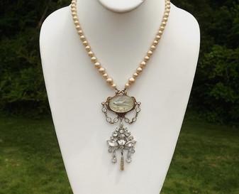 Blue Bird Glass Pearls CZECH Necklace rhinestone Drop Dangles Art Deco
