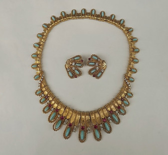 Rare BOUCHER Jeweled COLLAR Necklace & Earrings Set Jewels of India Mughal Style