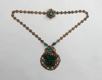 Vintage Czech Necklace Emerald Green Glass Stones Brass Metal Smoky Rhinestones