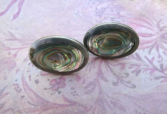 Vintage Taxco Sterling Silver Abalone Shell Cufflinks Big Statement Links