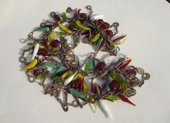 Vintage Tutti Frutti GRIPOIX Glass Poured Fruit Dangles Necklace Summer Garden