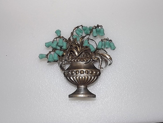 Vintage Art Deco Rare Poured Glass Lily of The Valley Turquoise Flower Beads Pin Garden Urn Brooch