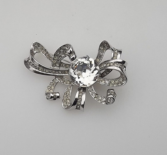 Rare Gift For Her Stunning Eisenberg Original Sterling Silver Bow Pin Brilliant Huge Crystal Stone