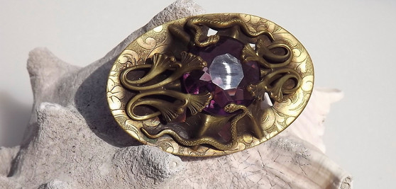 Antique Victorian Art Nouveau Brass Sash Pin Snakes, Lotus Leaves, Purple Stone