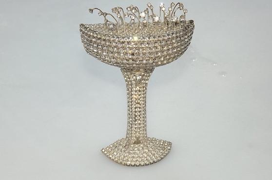 Vintage HUGE Dorothy Bauer Rhinestone Brooch Biggest Champagne Glass Pin