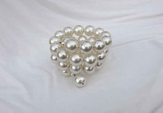 Vintage 3 Rows Pearl Wrap Around Bracelet Big Faux Pearls Winter White