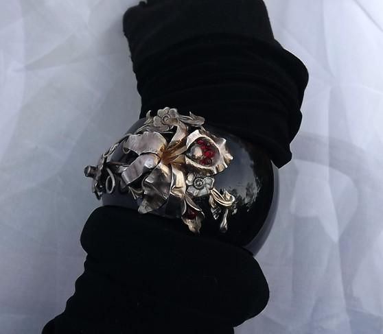 Sterling Orchid Flower Wide Black Plastic Bangle Vintage Jewelry Flip Bracelet