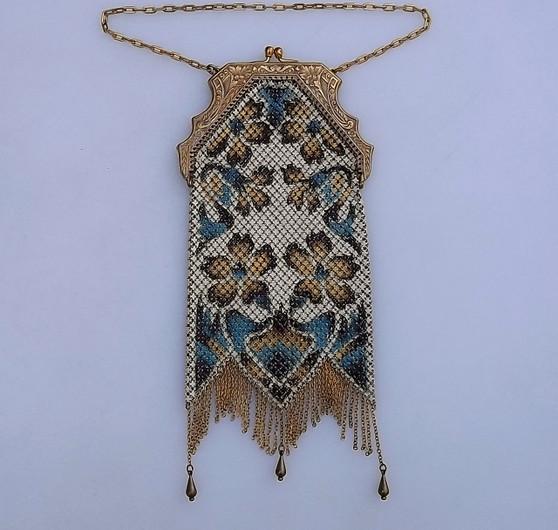 Art Deco Mandalian Mfg Co Enameled Mesh Purse 1920s Handbag