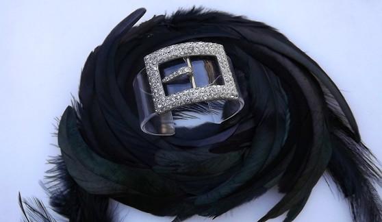Art Deco Paste Lucite Cuff Bracelet Rhinestone Belt Buckle 1920's 1930's