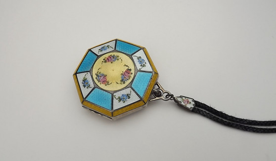 Antique Sterling Silver Guilloche Enamel Powder Compact Art Deco Octagon Pink Blue Flowers