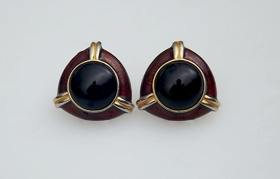 Vintage Donald Stannard Brown Guilloche Enamel Earrings Big Black Glass Cabochon