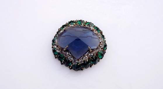 Rare Schreiner New York Mughal Style Brooch Huge Faceted Blue Main Stone Green Ovals