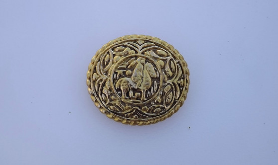 Vintage Chanel Byzantine Style Brooch Gold Tone 1980's Heavy Pin