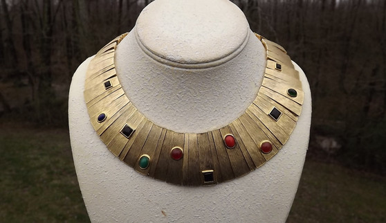 Vintage LES BERNARD Shimmering Haute Couture Cleopatra Collar Necklace Egyptian Revival Glass Gemstones