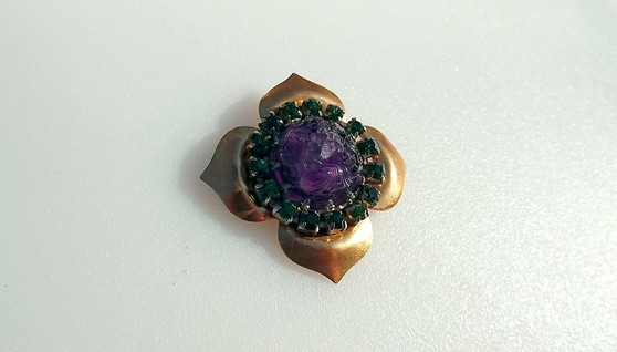 Vintage Early CHANEL Brooch Poured Molded Glass Purple Made in France Rare
