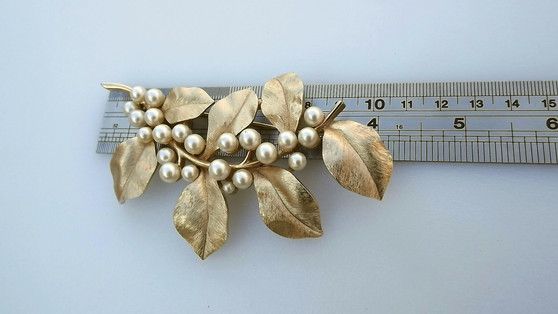 "1960's Iconic Trifari Gold & Pearls Leaf Stem Brooch, Huge Over 4"" Long, Elegant Curved Design"
