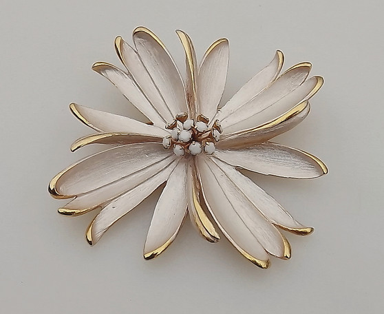 Is It Park Lane?  Mystery Brooch Lightest Pink Enamel Flower, Milk Glass Rhinestones On Wires Stamen Center