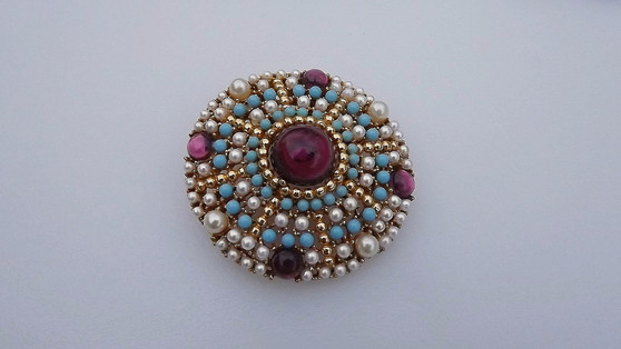 """Vintage Mughal Style Brooch Signed """"ART"""" Faux Turquoise Amethyst Pearls"""