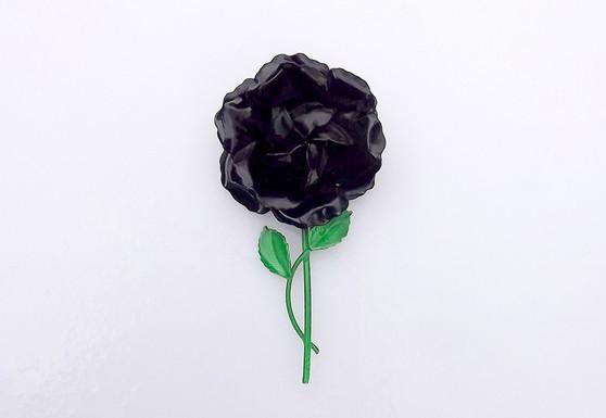 Huge 1960's Black Enamel Rose Brooch, Long Stem With Leaves, Big 3D Mod Flower Pin