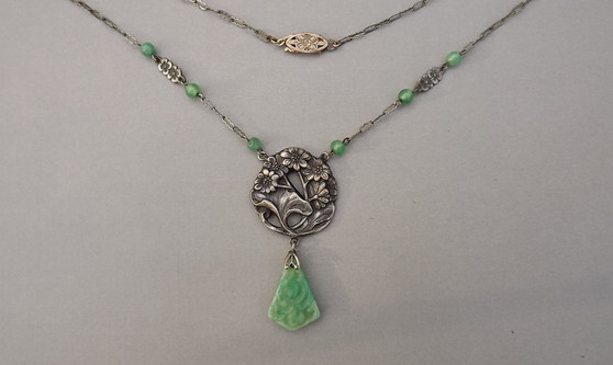 Art Nouveau Czech Jewelry Necklace Molded Peking Glass Faux Jade Jadeite Drop Lotus Leaf Garden Design
