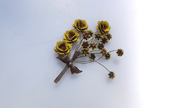 Large Vintage Sandor 1940's Enamel Flower Spray Trembler Brooch Yellow Bouquet Spring Summer Autumn