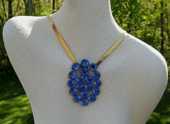1930's Czech Crystal Stones Pendant Dress Clip Combo, Intense Blue Spectacular Large Vintage Brooch