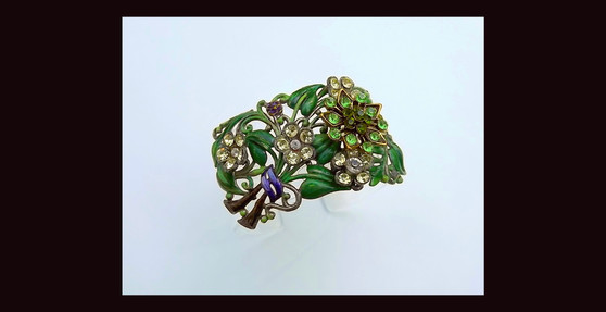 Lucite Cuff Bracelet, 1930's Enamel Leaves Flower Bouquet Brooch Rhinestone Too! Summer Garden Ellen Originals