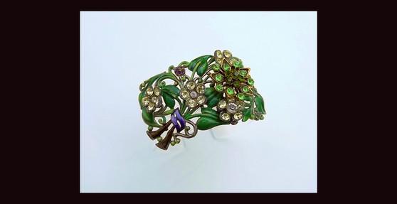 Summer Garden Lucite Cuff Bracelet With 1930's Enamel Leaves Flower Bouquet Brooch, Rhinestone Too! Ellen Originals