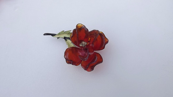 Summer of Flowers Vintage Orange Cellulose ACETATE Flower Brooch Lavender Rhinestones Enamel Leaves