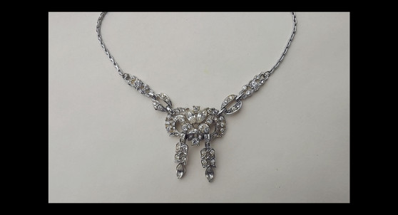 Vintage Coro Art Deco Rhinestone Necklace Silver Rhodium Plated Old Costume jewelry