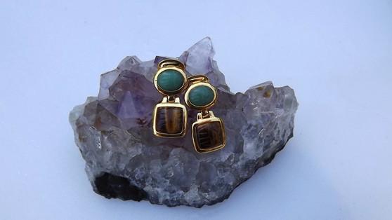 Gemstone KJL Kenneth Lane Egyptian Scarab Earrings Tiger Eye Aventurine