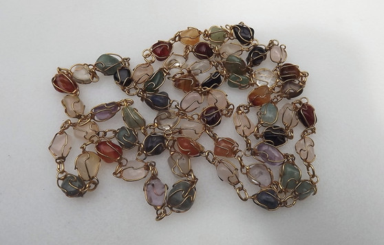 Vintage Caged Gemstones Nuggets Necklace Rose Quartz, Amethyst, Agate, Aventurine And More,  Old Costume Jewelry