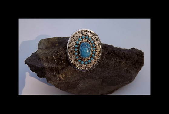 Vintage Sterling Silver Egyptian Turquoise Blue Clay Faience Scarab Pin Pendant