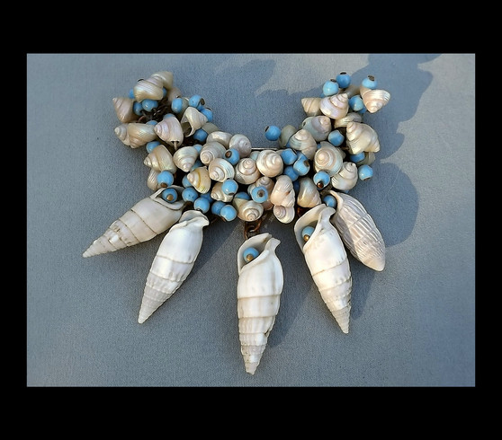 Large Early MIRIAM HASKELL Seashell Brooch Dangling Glass Beads Big Shells Organic Nature Motif  Collectors Pin
