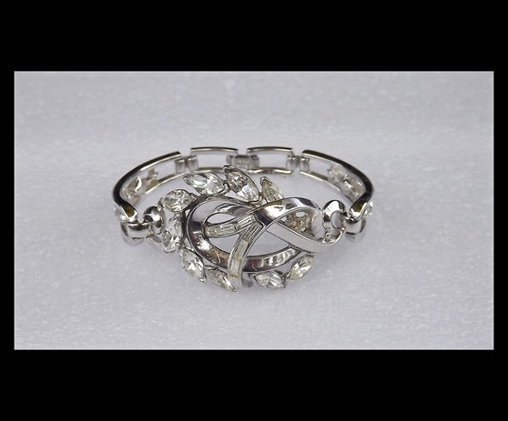 Rare Trifari Pat Pend Silver Rhodium Bracelet With Clear Invisible Set & Marquise Rhinestones Old Costume Jewelry