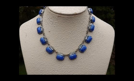 Authentic Art Deco Czech Collar Necklace Rare Mottled Dark Blue Satin Glass Stones Silver Plated Metal Old Costume Jewelry