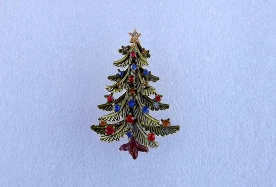 Rare Signed ART Christmas Tree  Enamel Snow Branch Rhinestone Pin Vintage Old Costume Jewelry