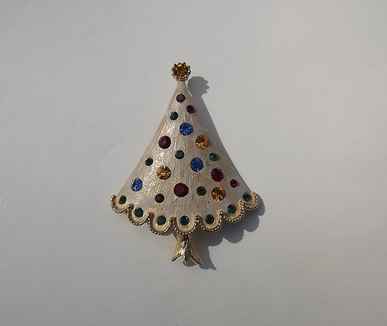 Unique  Vintage Enamel Christmas Tree Brooch Jewel Tone rhinestones Light Gold Accents Old Costume Holiday Jewelry