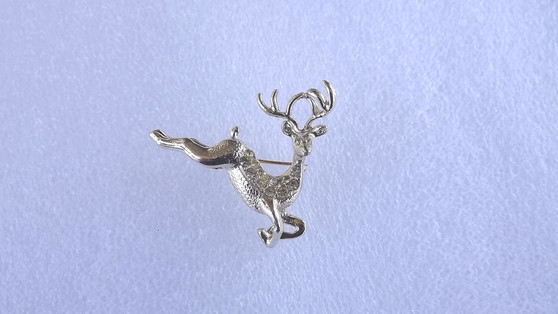 Vintage Adorable Rhinestone Leaping Reindeer Pin 1960's Collectible Christmas Jewelry