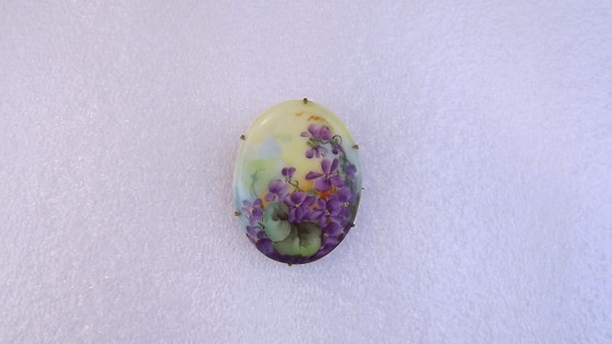 Victorian Wild Violets Hand Painted Porcelain Brooch Finely Painted Romance Old Costume Jewelry