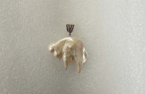 "Huge Baroque Keshi Reborn Pearl ""White Buffalo"" Pendant 40mmx46mm Sterling Bale"